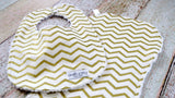 Baby Bib and Baby Burp Cloth Set - Gold Chevron Baby Bib and Baby Burp Cloth Set - Baby Shower