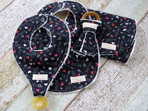 Valentine's Bib and Burp Set - Organic Teething Ring - Binkie Bib - Arrow Bib and Burp Cloth