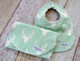 Baby Bib and Burp Cloth - Baby Boy Bib and Burp Cloth - Buck Bib and Burp Cloth