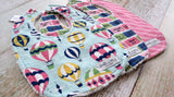Baby Bibs - Baby Girl Bibs - Hot Air Balloon Bibs - Up Up and Away Bibs