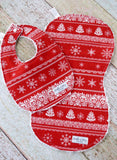 Nordic Christmas Gift - Holiday Baby Bib and Burp Cloth Set - Baby's First Christmas