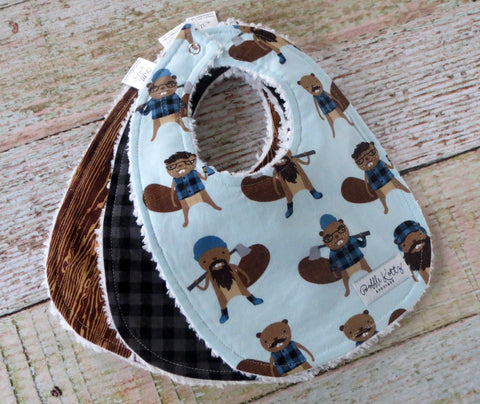 Baby Bibs - Baby Boy Bibs - Burly Beaver Bibs - Black Gray Plaid Bib - Woodgrain Bib