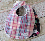 Baby Bibs - Baby Girl Bibs - Lantern Baby Bibs - Pink Orange Plaid Bibs