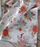 Baby Blanket - Baby Girl Blanket - Mint Blush Rose Minky Blanket