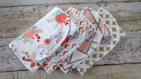 Baby Burp Cloths - Baby Girl Burp Cloths - Mint Blush Burp Cloths