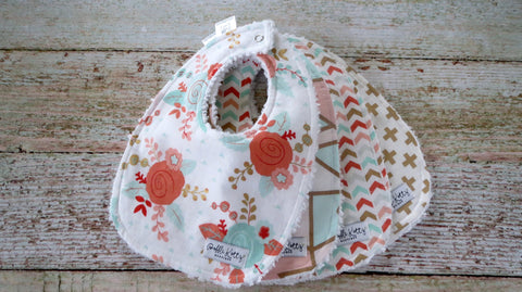 Baby Bibs - Baby Girl Bibs - Mint Blush Baby Girl Bibs