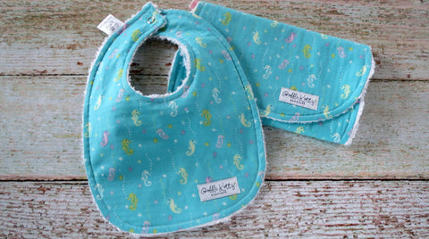 Sea Horse Bib and Burp Cloth - Sea Life Bib and Burp Cloth - Baby Girl Bib and Burp Cloth