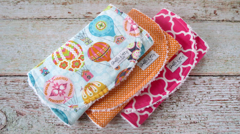 Hot Air Balloon Burp Cloths - Bird House Burp Cloths - Baby Girl Burp Cloths