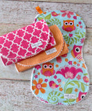 Owl Burp Cloths - Woodland Burp Cloths - Baby Girl Burp Cloth Set