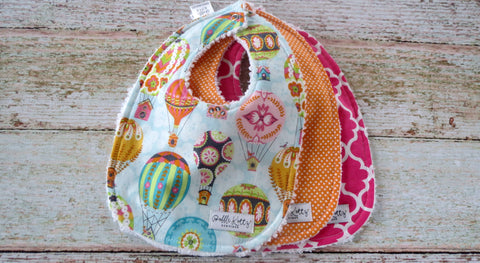 Hot Air Balloon Bibs - Bird House Bibs - Baby Girl Bib Set