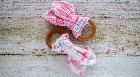 Organic Maple Wood Teethers - Pink Off Roading Teething Rings