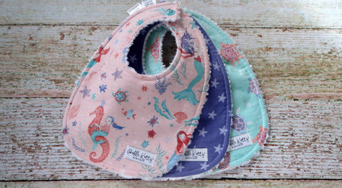 Sea Life Bib Set - Mermaid Bib Set