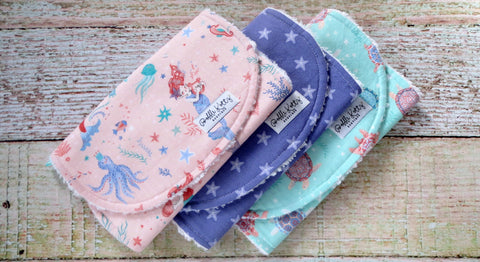 Sea Life Burp Cloth Set - Mermaid Burp Cloth Set