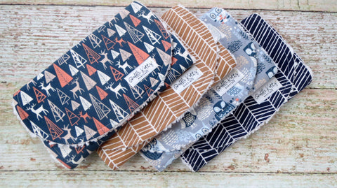 Woodland Burp Cloth Set - Owl Burp Cloth Set - Baby Boy Burp Cloth Set