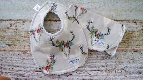 Floral Deer Skull Bib and Burp Cloth - Boho Bib and Burp Cloth