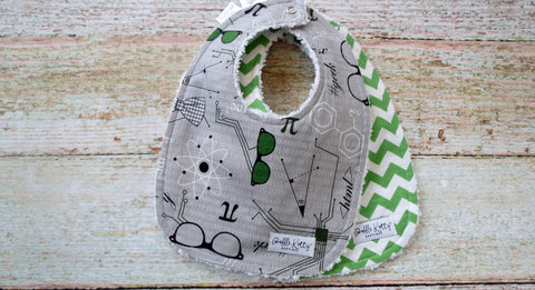 Baby Boy Bib Set - Mod Scientist Bib Set - Mod Geek Bib Set - Preppy Argyle Bib Set