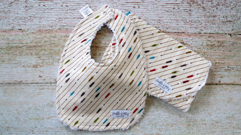 Baby Boy Arrow Bib and Burp Set