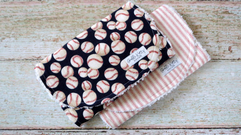Baseball Burp Cloth - Baby Boy Burp Cloths - Red Ticking Stripe Burp Cloth