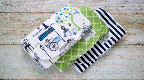 Navy Green Paris Burp Cloths