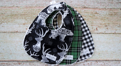 Buffalo Plaid Christmas Bib Set