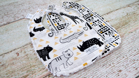 Black and Gold Safari Bibs