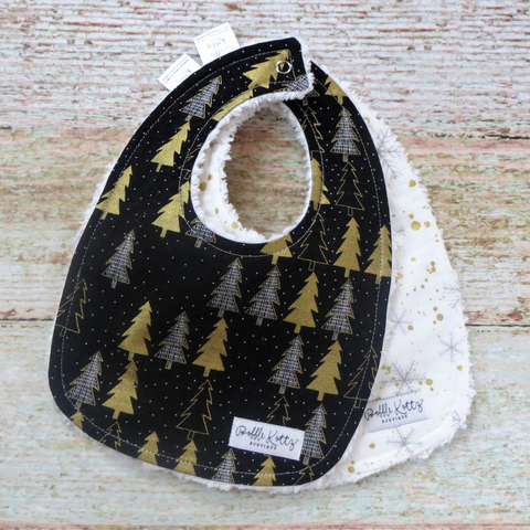 Metallic Gold Christmas Trees Bib Set