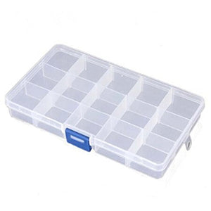 Aketek 15 Grids Clear Adjustable Jewelry Bead Organizer Box Storage Container Case (15 Grids)6.8x3.9x0.68inch