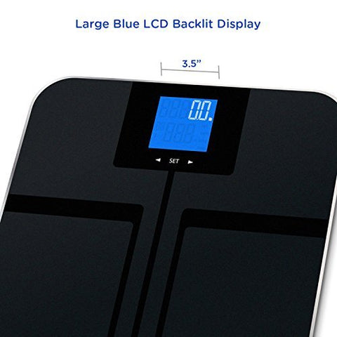 EatSmart Precision GetFit Digital Body Fat Scale w/400 lb. Capacity & Auto Recognition Technology