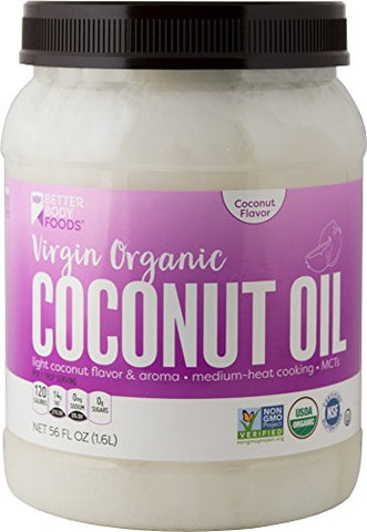 BetterBody Foods Virgin Organic Coconut Oil — Cold-Pressed and Unrefined Coconut Oil, Medium Temperature Cooking Oil, Great Alternative To Butter, Light Coconut Flavor and Aroma — 56 oz