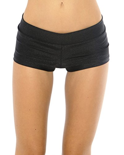 iHeartRaves Solid Rave Booty Shorts (Medium, Black)