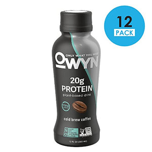 OWYN 100-Percent Vegan Plant-Based Protein Shake, Cold Brew Coffee, Ready To Drink, Dairy-Free, Gluten-Free, Soy-Free, Allergy Friendly, Vegetarian, 12 fl. oz. Bottle, 12 Pack -  - OWYN Only What You Need - ProducerDJ.Market