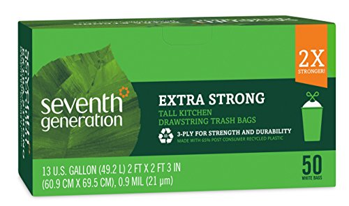 Seventh Generation Extra Strong Tall Kitchen Draw String Trash Bags, 50 Count -  - Seventh Generation - ProducerDJ.Market