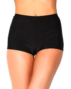 iHeartRaves Black High Waisted Shiny Bootie Shorts Bottoms (Small)