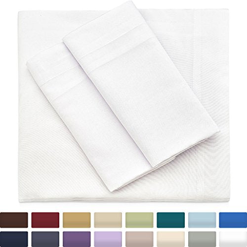 Bamboo Sheets Cal King Size, White Sheet Set - Deep Pocket - Premium Wrinkle Free Blend From Organic Bamboo Fiber - 4 Piece Bedding Sets - 1 Fitted, 1 Flat, 2 Pillow Cases - California King -  - Cosy House Collection - ProducerDJ.Market