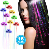 Acooe 16 Pack LED Lights Hair, Light-Up Fiber Optic LED Hair Barrettes Party Favors Party, Bar Dancing Hairpin, Hair Clip, Multicolor Flash Barrettes Clip Braid (16 pcs)