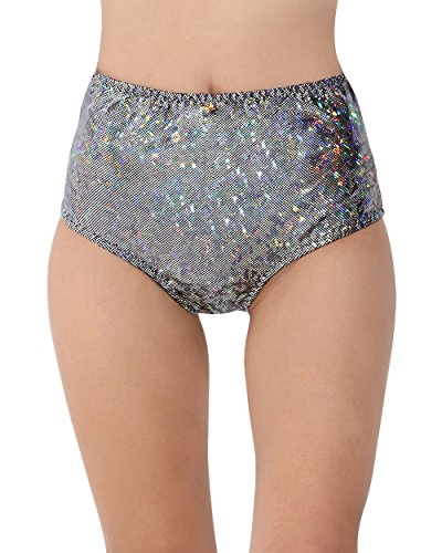 iHeartRaves Electro High Waisted Rave Booty Shorts (S/M, Hologram Black)
