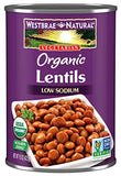 Westbrae Natural Organic Lentils, 15 Ounce Cans (Pack of 12)
