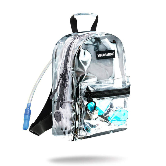 Vibedration Mini Clear Hydration Backpack | 1 Liter Rave Water Pack, Festival Clothing Accessory Bag (Clear)