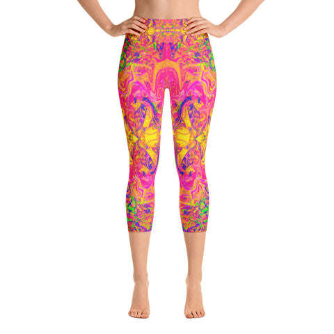 Monument To Love Fractal High Waisted Capri Leggings