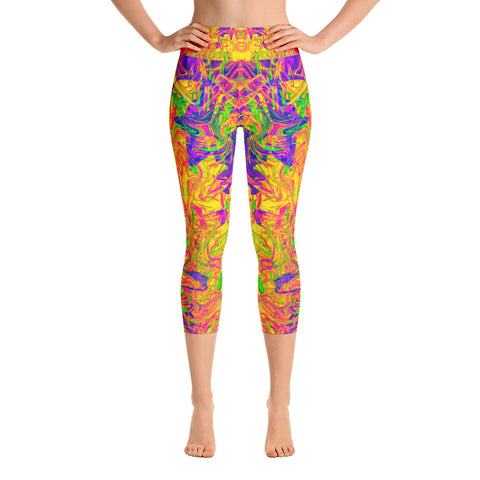 Monument To Love Abstract High Waisted Capri Leggings