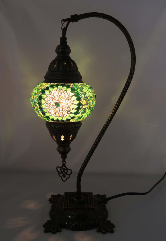 Handcrafted Mosaic Tiffany Curves/ Swan Table Lamp  030