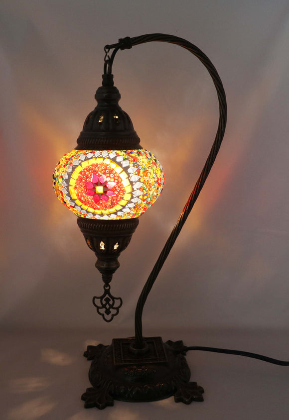 Handcrafted Mosaic Tiffany Curves/ Swan Table Lamp  031