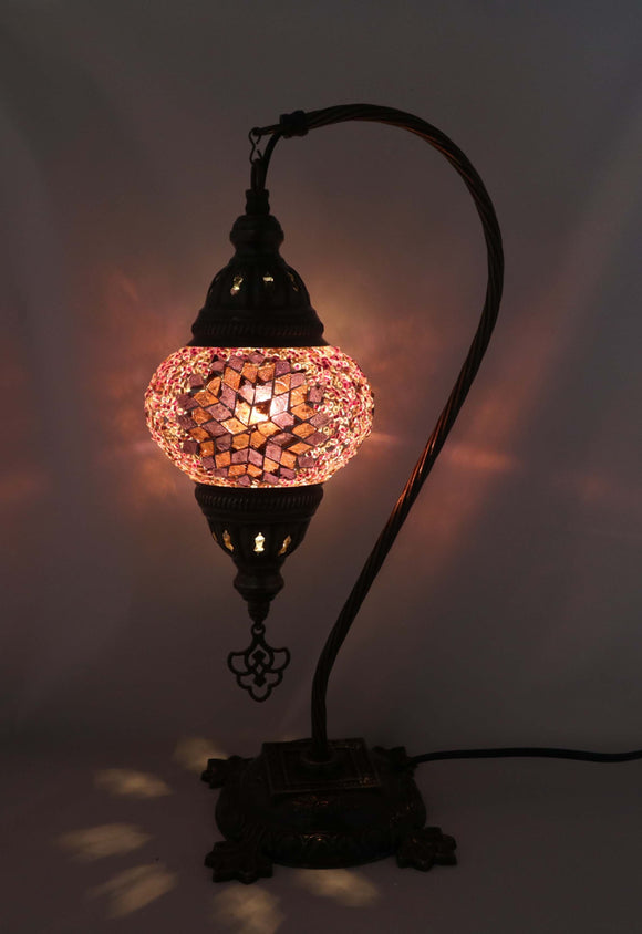 Handcrafted Mosaic Tiffany Curves/ Swan Table Lamp  041
