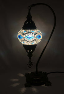 Handcrafted Mosaic Tiffany Curves/ Swan Table Lamp  046