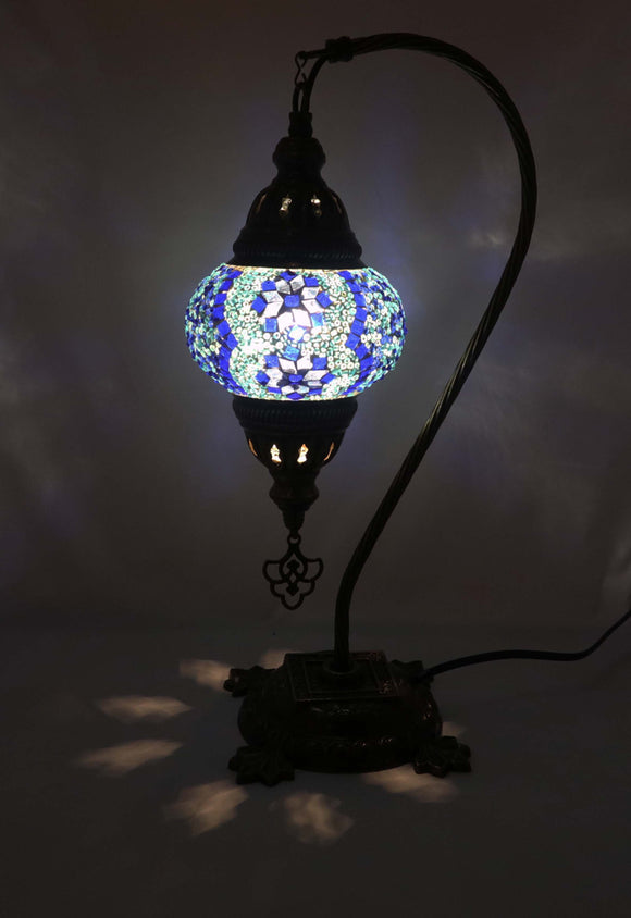 Handcrafted Mosaic Tiffany Curves/ Swan Table Lamp  048