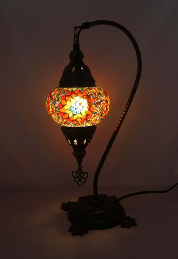 Handcrafted Mosaic Tiffany Curves/ Swan Table Lamp  050