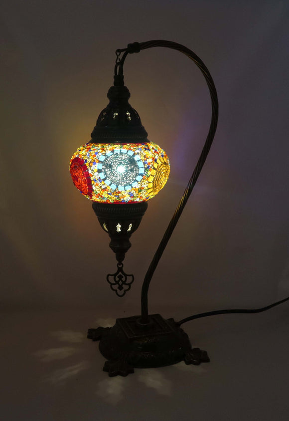 Handcrafted Mosaic Tiffany Curves/ Swan Table Lamp  051