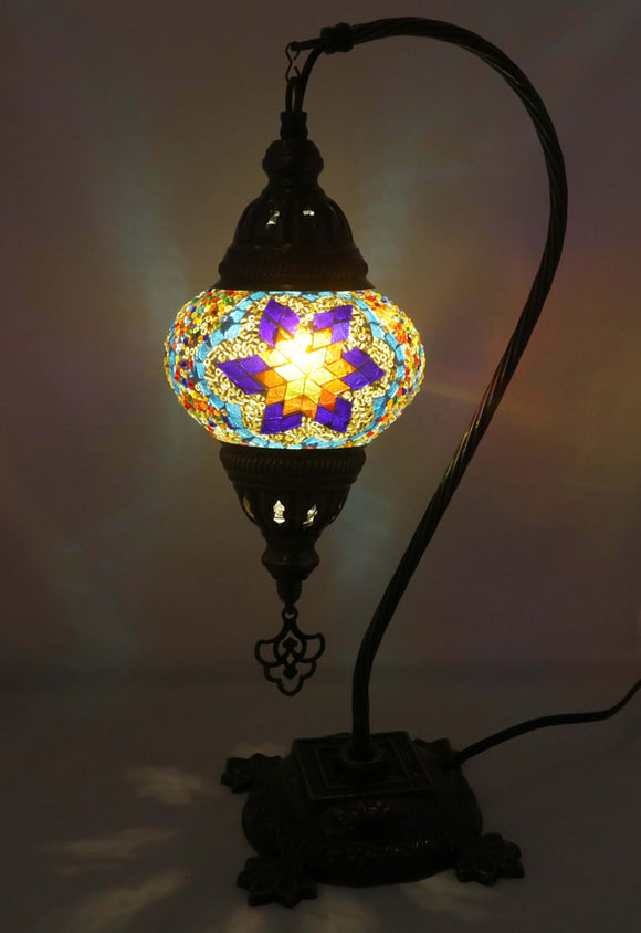 Handcrafted Mosaic Tiffany Curves/ Swan Table Lamp  056
