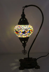Handcrafted Mosaic Tiffany Curves/ Swan Table Lamp  057