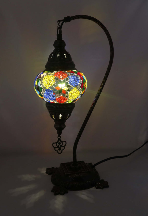 Handcrafted Mosaic Tiffany Curves/ Swan Table Lamp  058